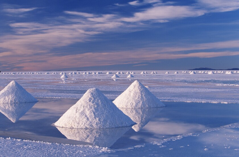 The salt deposits in Bolivia's Salar de Uyuni make interesting shapes amid an ethereal landscape.