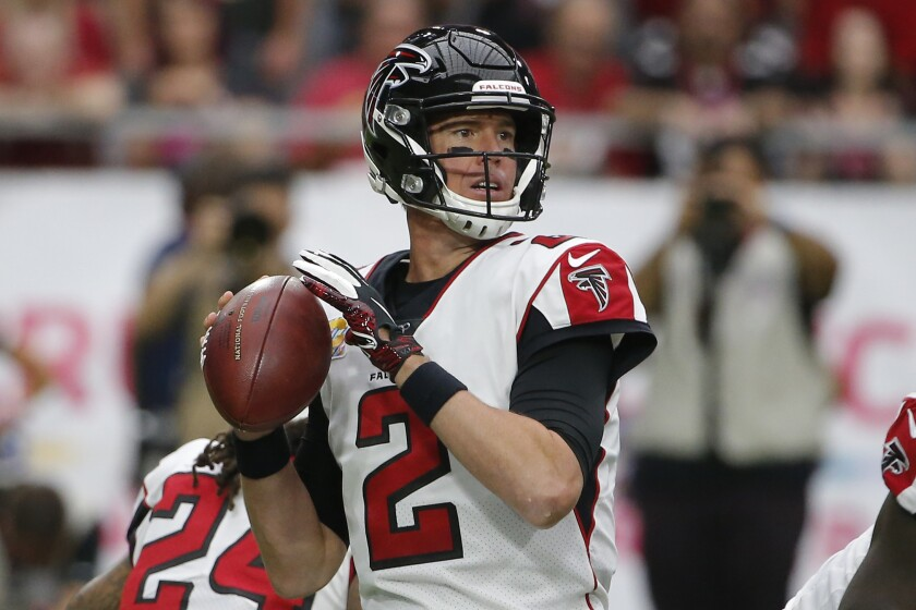 Atlanta Falcons quarterback Matt Ryan (2) during looks on to pass against the Arizona Cardinals on Sunday in Glendale, Ariz.