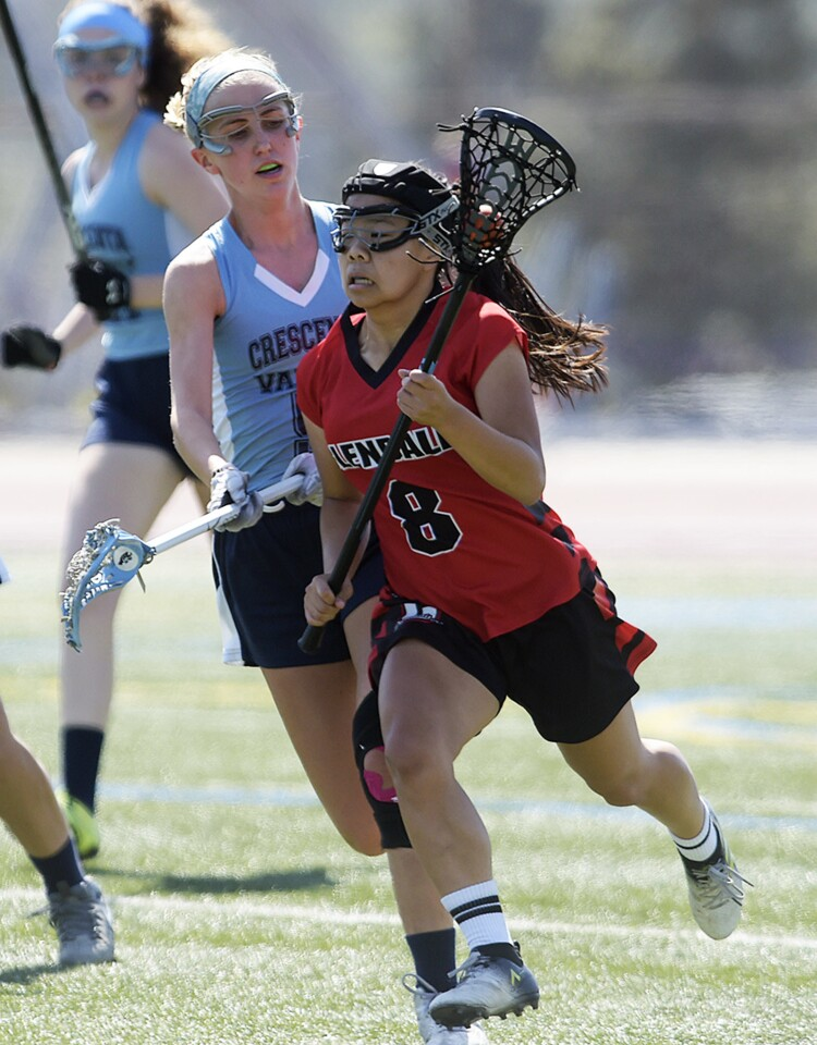 Glendale's Rachel Fong (8) runs the ball towards the goal against Crescenta Valley defender Allie Foster (5) during the match at Crescenta Valley in La Crescenta on Friday, April 20, 2018.