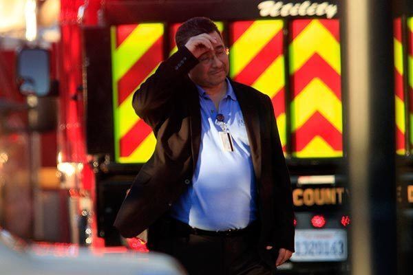 A Southern California Edison employee who was evacuated from the office complex after the shooting in Irwindale.