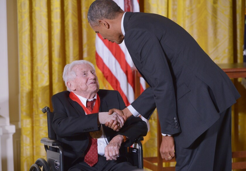 President Obama presented the National Humanities Medal to literary critic M.H. Abrams on Monday.