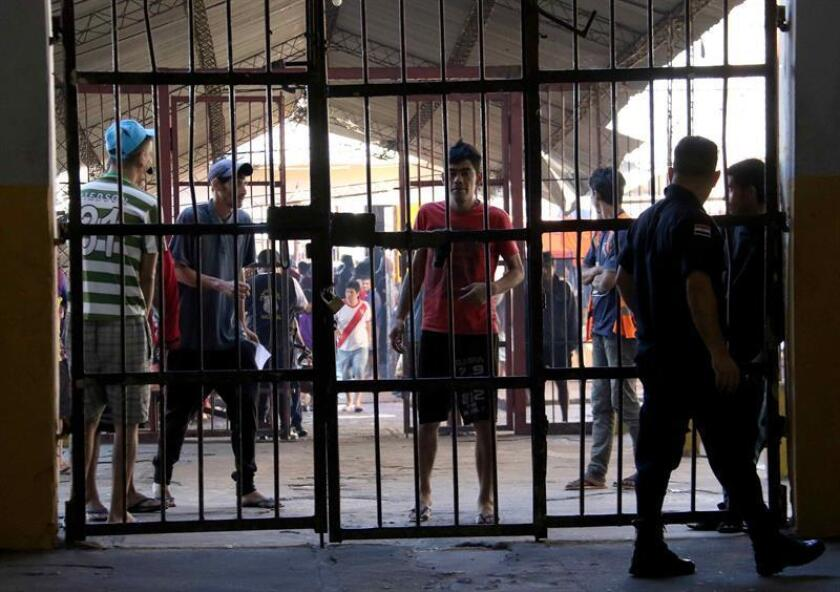 View of inmates at Paraguay's Tacumbu Prison on Nov. 19, 2018, the day the Justice Ministry and Higher Electoral Tribunal (TSJE) initiated the census of inmates at this, the most overcrowded prison in the country. EFE-EPA/Andres Cristaldo