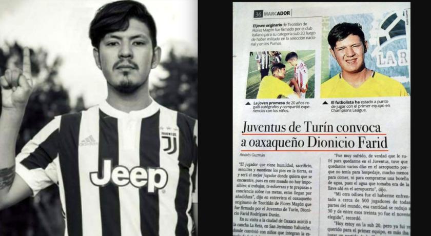 Dionicio Farid Rodríguez, el falso jugador mexicano de Juventus de Italia.