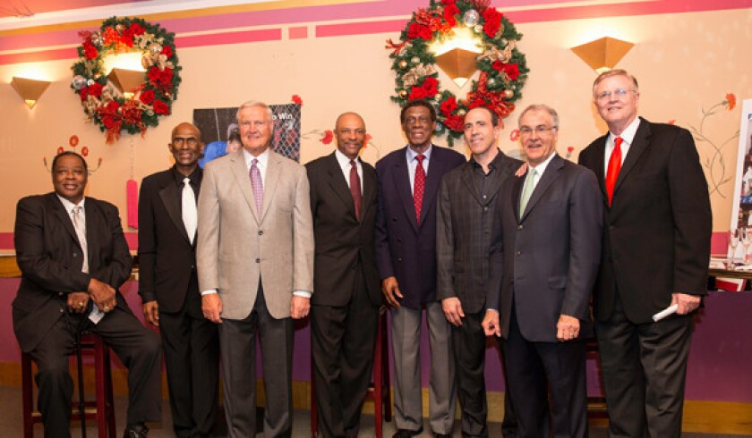 Members of the Lakers' 1971-72 championship team took part in the West Coast Sports Medicine Foundation Fundraiser on Dec. 8. From left, Jim McMillian, Flynn Robinson, Jerry West, Jim Cleamons, Elgin Baylor, founder of WCSMF Keith Feder, Gail Goodright and Keith Erickson.