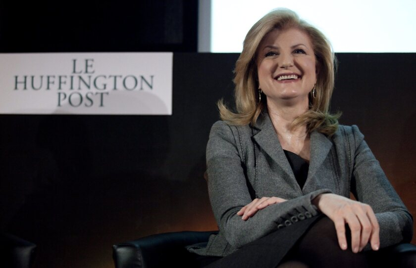A 2012 file photo shows Arianna Huffington at a news conference for the launch of the French version of the Huffington Post. She said Thursday she will leave the news site to focus on another venture.