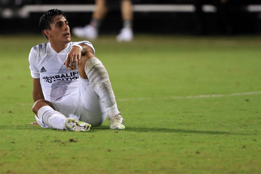 Galaxy forward Cristian Pavon looks dejected after a draw against the Houston Dynamo on Thursday.