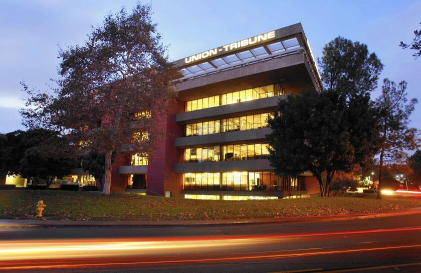 The Union-Tribune building in San Diego. The parent company of the Los Angeles Times is buying the U-T and eight community weeklies.