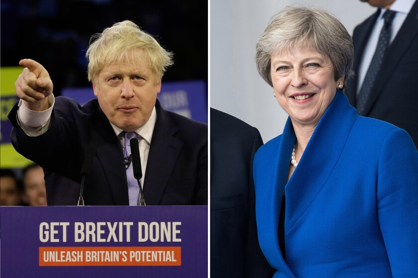 Britain's Prime Minister Boris Johnson and Theresa May