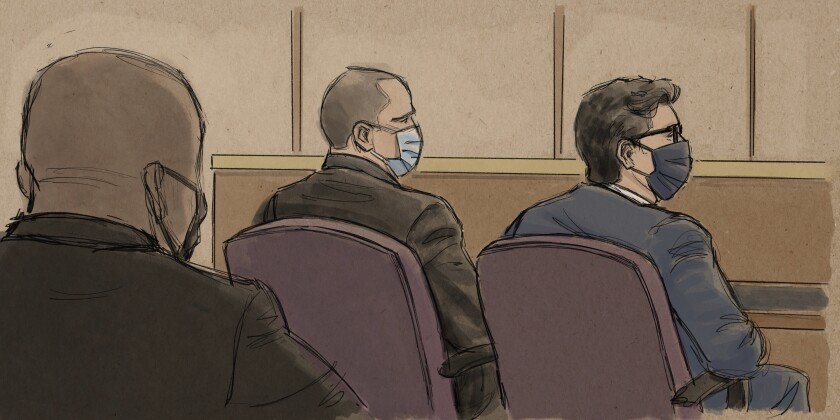 In this courtroom sketch, former Minneapolis police officer Derek Chauvin, center, sits beside his defense attorney during a hearing in Minneapolis, Friday, Sept. 11, 2020. Prosecutors in the case of four former Minneapolis officers charged in the death of George Floyd told a judge Friday that the men should face trial together because the evidence and charges against them are similar, and multiple trials could traumatize witnesses and Floyd's family. Floyd, a Black man in handcuffs, died May 25 after Derek Chauvin pressed his knee against his neck as Floyd said he couldn't breathe. (Cedric Hohnstadt via AP)