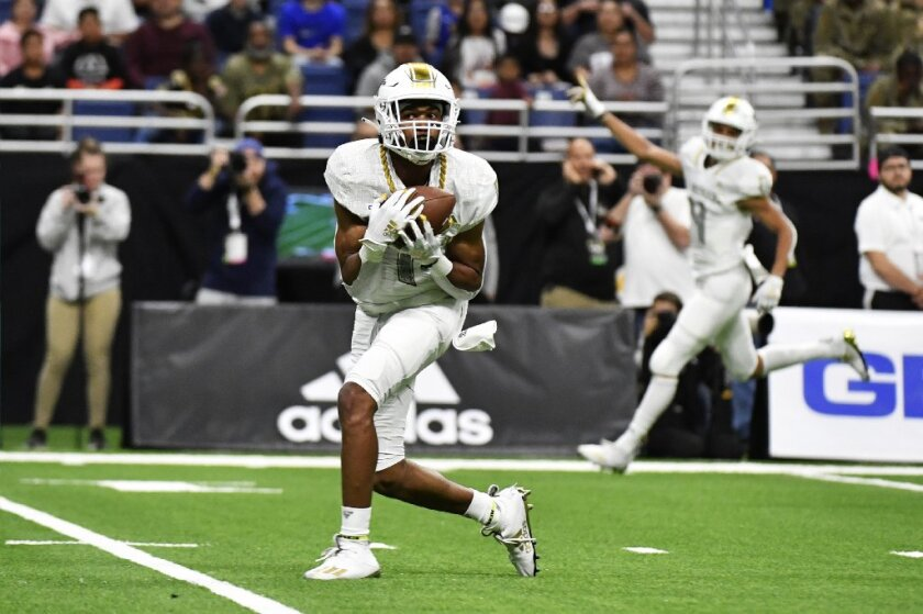 USC commit Gary Bryant Jr. catches a touchdown pass against the East team during the first half of the All-American Bowl held on Jan. 4 in San Antonio.