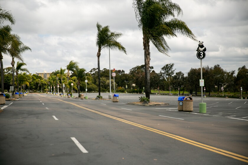 The parking lot and entrance to the San Diego Zoo are empty as it's shuttered during the novel coronavirus pandemic on April 17, 2020 in San Diego, California.
