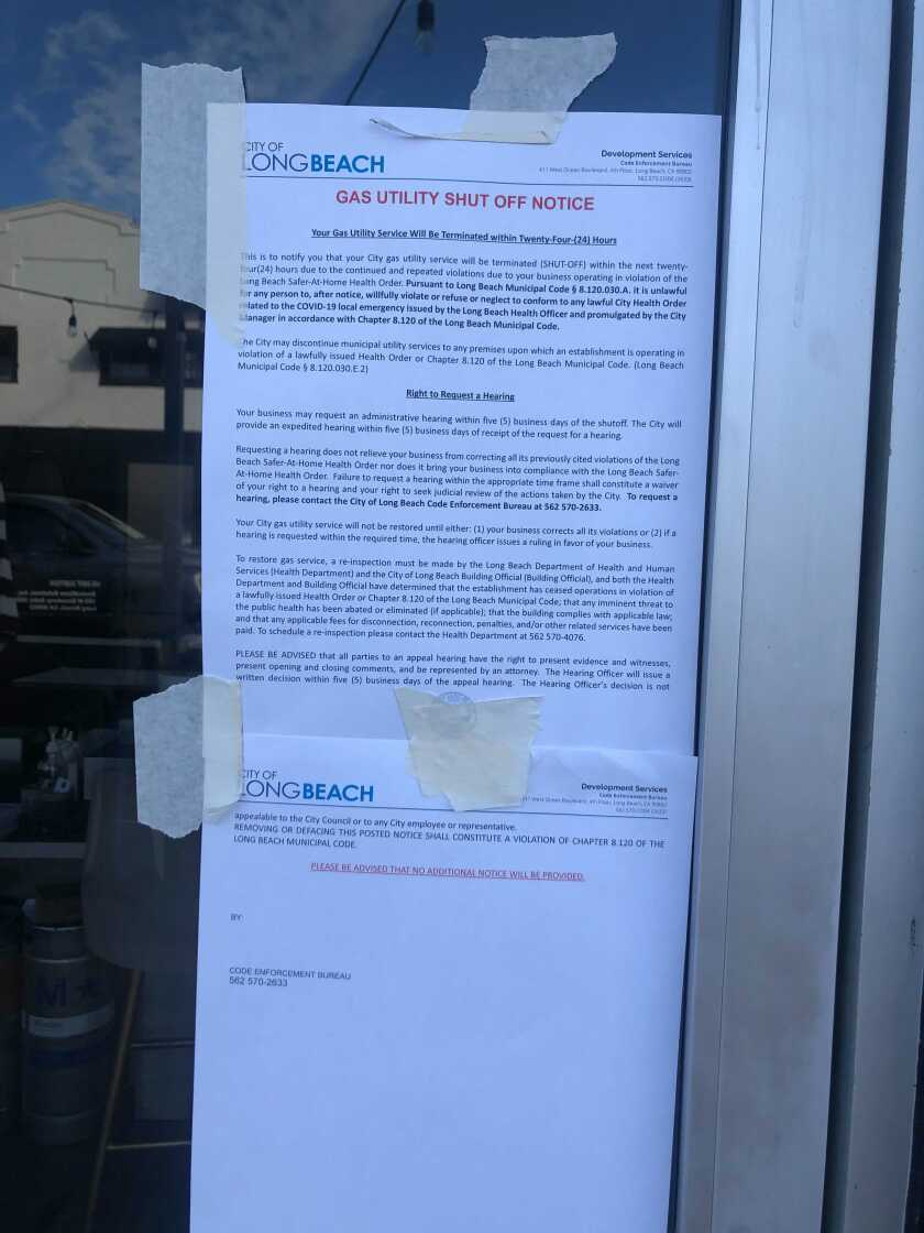 Long Beach officials shut off the gas at Dana Tanner's restaurant after she refused to close her outdoor patio to diners.