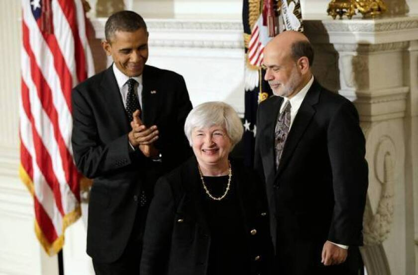 Janet Yellen is flanked by President Obama and Fed Chairman Ben S. Bernanke during a media conference announcing Yellen's nomination to head the Federal Reserve.