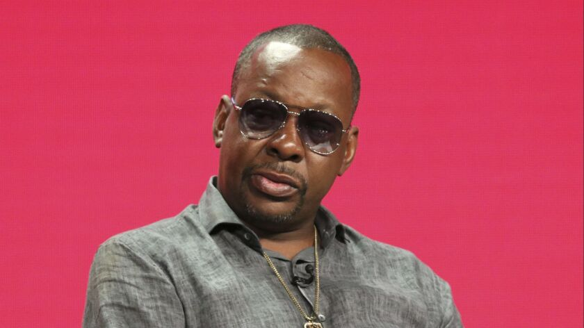 """Bobby Brown participates in """"The Bobby Brown Story"""" panel during the Television Critics Assn. press tour at the Beverly Hilton hotel on Friday."""
