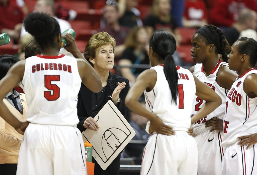 Head coach Beth Burns tries to rally her team as SDSU's womens team took on Fresno State in the championship game of the Mountain West Tournament in Las Vegas Saturday.