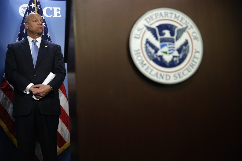 Secretary of Homeland Security Jeh Johnson listens during a joint news conference in Washington, DC. Over the past five years, the Obama administration has transformed our nation's immigration enforcement system, turning it into a system that emphasizes removing criminals and keeping the border secure.