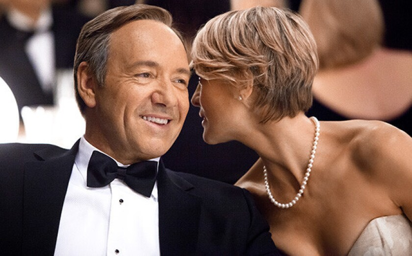 """Still conniving: Kevin Spacey and Robin Wright in """"House of Cards."""""""