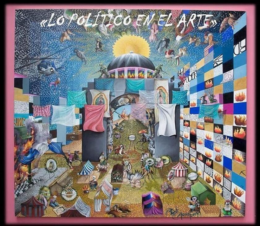 """Fotografía cedida por Aguafuerte Galería hoy, jueves 7 de mayo de 2018, que muestra una de las 43 piezas exhibidas en la muestra """"Lo político en el arte"""", en Ciudad de México (México). EFE/Aguafuerte Galería/SOLO USO EDITORIAL"""