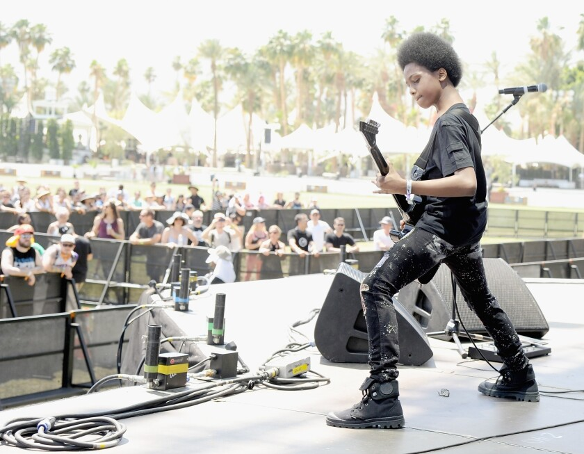 Musician Malcolm Brickhouse of Unlocking the Truth performs onstage during day 2 of the 2014 Coachella Valley Music & Arts Festival.