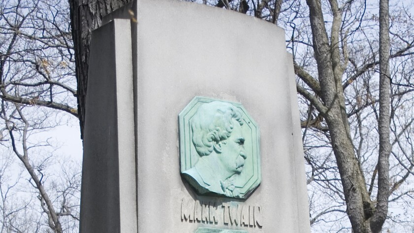 Mark Twain's plaque on his grave marker was stolen in late December.