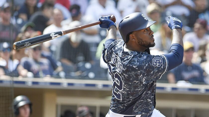 The Padres' Franmil Reyes hits an RBI double during the fifth inning of a baseball game against the Arizona Diamondbacks at PETCO Park on September 30, 2018 in San Diego, California.