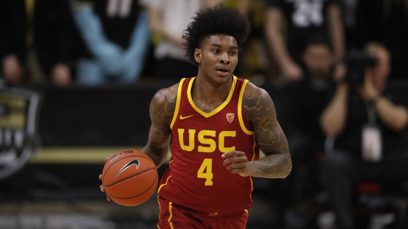 USC guard Kevin Porter Jr. controls the ball during a game against Colorado on March 9.
