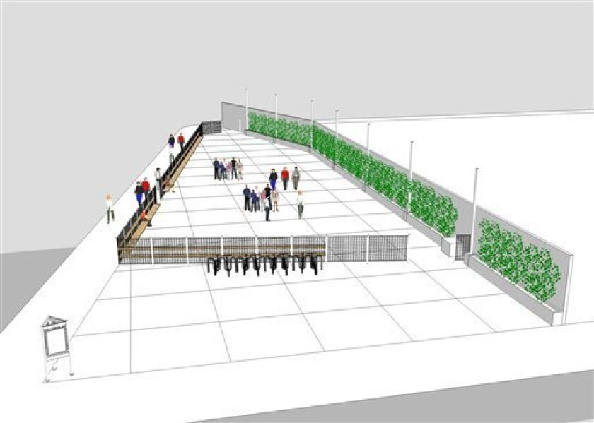 This artist rendering provided by the National September 11 Memorial & Museum shows the initial design for a welcome site at the 9/11 Memorial in New York. The concrete street-level plaza, with benches and light landscaping, will be on the southeast corner of the former Deutsch Bank building. The space is designed to keep crowds off of sidewalks and allows memorial staff to verify visitor passes, which will be required to enter the memorial at ground zero. (AP Photo/National September 11 Memorial & Museum) NO SALES