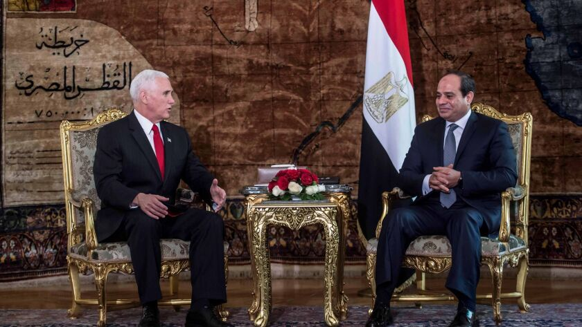 US Vice President Mike Pence visits Egypt, Cairo - 20 Jan 2018