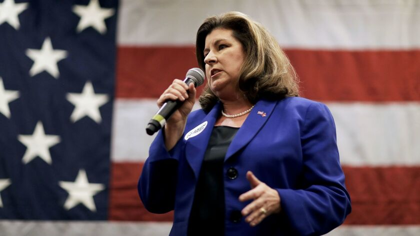 Karen Handel, the Republican candidate for the 6th Congressional District, speaks at a campaign even