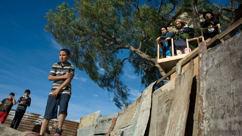 Members of the avant-garde artist collective, Chim Pom, pose for a photograph in a tree house they call USA Visitor's Center by the border fence in Tijuana's Colonia Libertad.