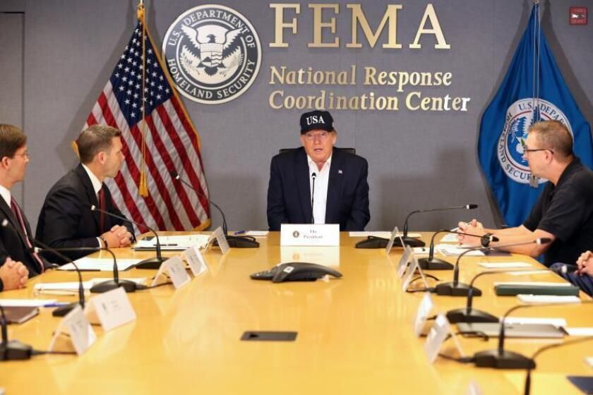 US President Donald J. Trump attends a briefing on Hurricane Dorian at FEMA headquarters, in Washington, DC, USA EFE/EPA/Martin H. Simon / POOL