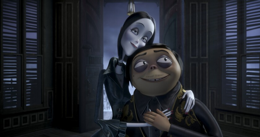 Morticia and Gomez Addams are voiced by Charlize Theron and Oscar Isaac.