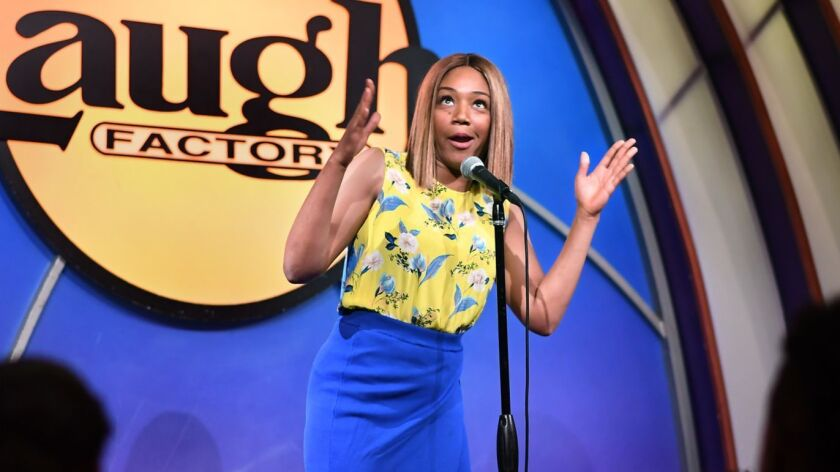 LOS ANGELES, CALIFORNIA JULY 7, 2018-Comedian Tiffany Haddish describes her life a s acomedian in fo