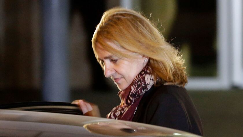 Spain's Princess Cristina leaves a courtroom during a corruption trial in Palma de Mallorca, Spain, in January 2016.