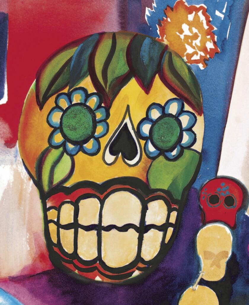 Sugar Skull with Marigolds.