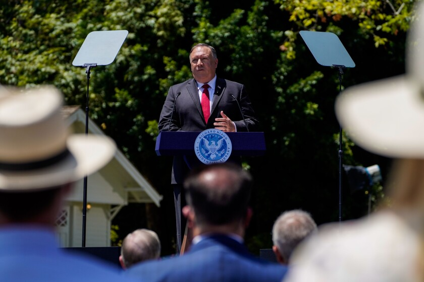 Secretary of State Michael Pompeo at the Richard Nixon Presidential Library.