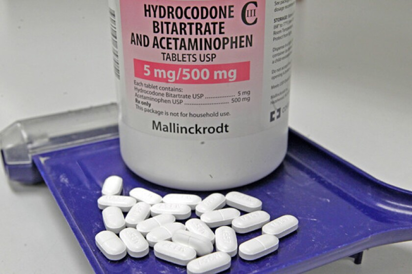 Congress is considering a bill that would bump hydrocodone-based pills -- Vicodin, above, Norco and Lortab -- into the same controlled-substance class as opium.