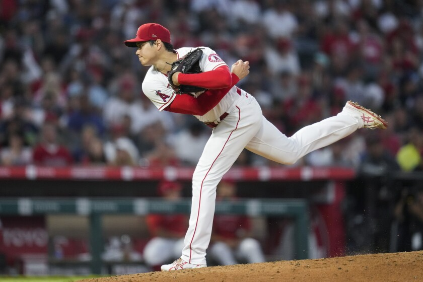 Los Angeles Angels starting pitcher Shohei Ohtani (17) throws during the sixth inning of a baseball game against the Boston Red Sox Tuesday, July 6, 2021, in Anaheim, Calif. (AP Photo/Ashley Landis)