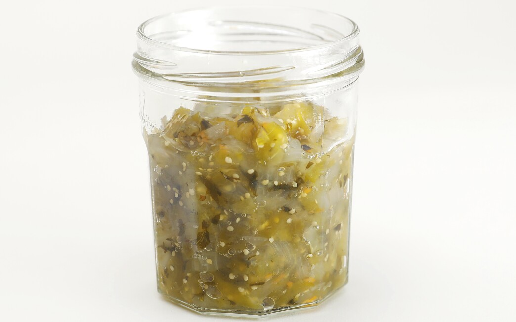 Earthy tequila flavors this sweet-spicy relish made with tomatillos instead of the usual green tomatoes.