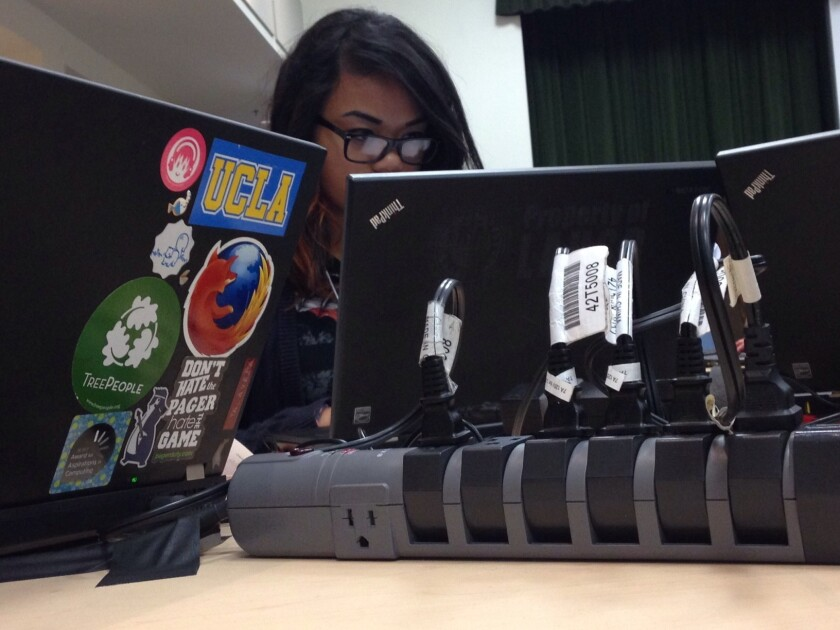 Joyce Talavera, 14, at the CyberGirlz Summit at Cal Poly Pomona on Saturday.