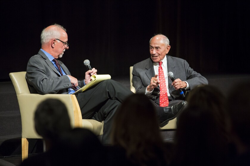 LAUSD Supt. Ramon C. Cortines, right, in conversation Wednesday with L.A. Times columnist Steve Lopez in the Chandler Auditorium at the Los Angeles Times.