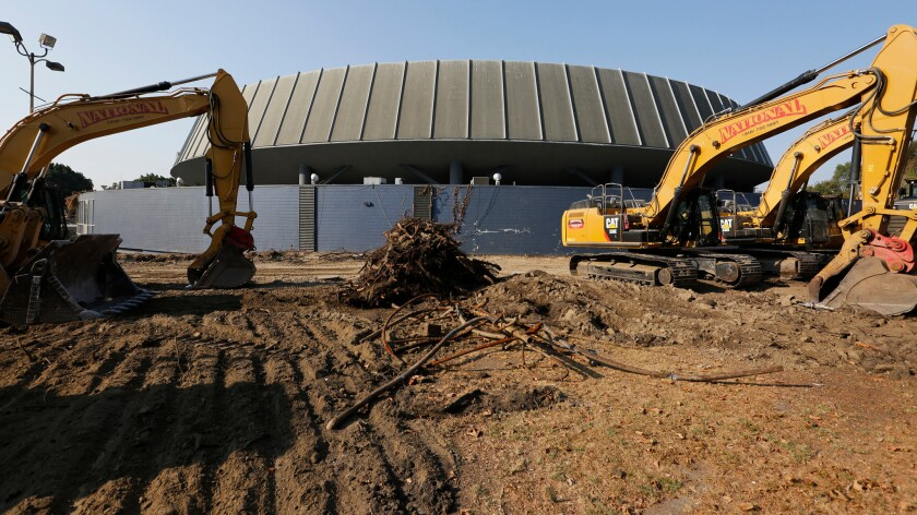 Excavating machinery on the grounds where  the new stadium that will house the Los Angeles Football Club soccer team.