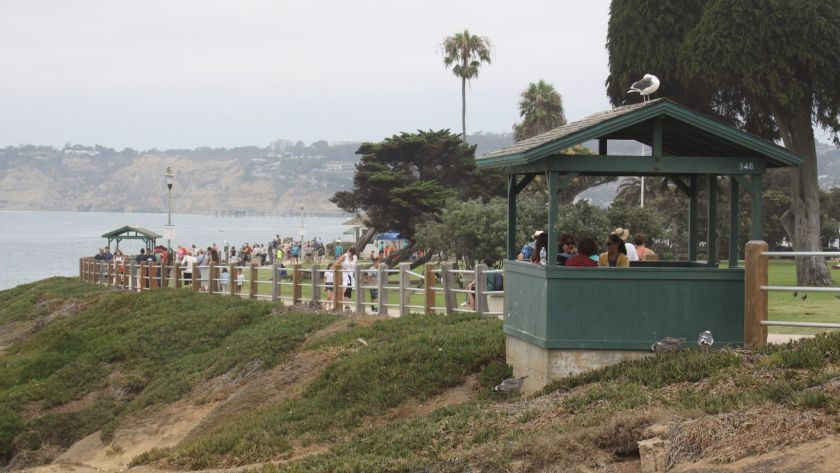 Two belvederes are pictured on the ocean side of Scripps Park in La Jolla.