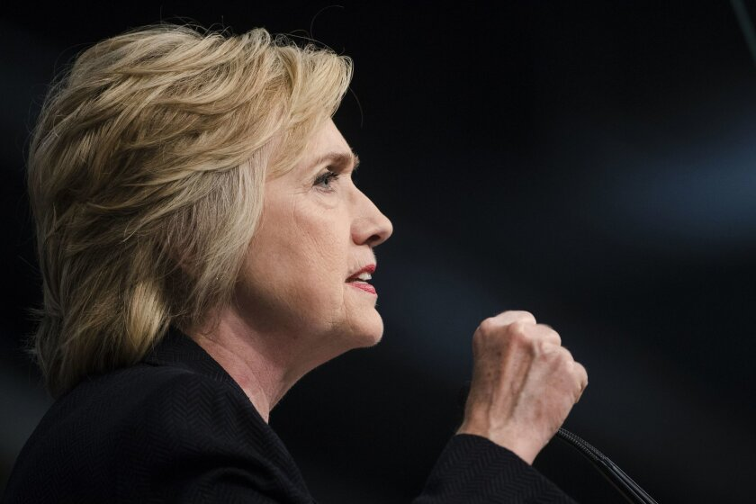 FILE - In this July 8, 2016 file photo, Democratic presidential candidate Hillary Clinton speaks in Philadelphia. In another nod to primary rival Bernie Sanders, Hillary Clinton is announcing a new proposal to double funding for community health centers, aiming to increase access to primary care se