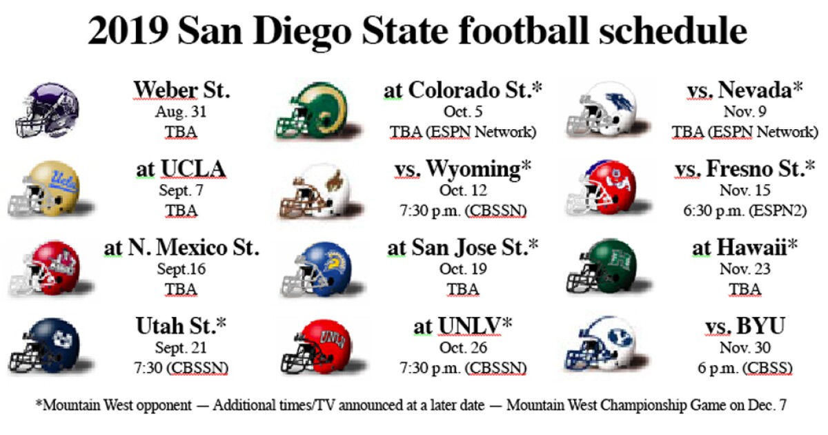 Sdsu Calendar Spring 2022.Aztecs Football Notebook Kickoff Times Tv Networks Announced For Several Games The San Diego Union Tribune