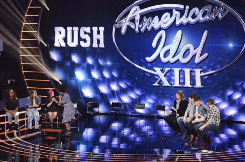"""Eight of the top 13 finalists who were chosen on """"American Idol"""" on Thursday."""