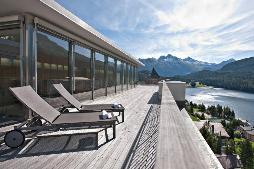 Hotel Schweizerhof is in the heart of St. Mortiz. The rooftop terrace overlooks the lake and Engadine Alps. Hotel Schweizerhof photo