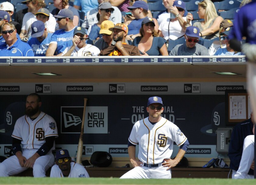 Padres manager Andy Green looks on during a game against the Rockies this week.