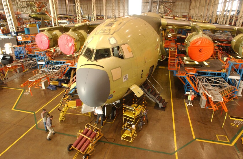 An Air Force C-17 in final assembly at Boeing in Long Beach.