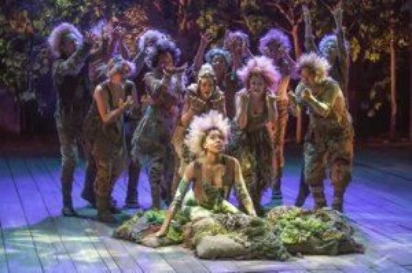 Krystel Lucas as Titania (center) poses with the cast of The Old Globe Theatre's Shakespeare Festival production of 'A Midsummer Night's Dream.' Jim Cox